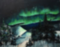 northern lights painting with snow and trees
