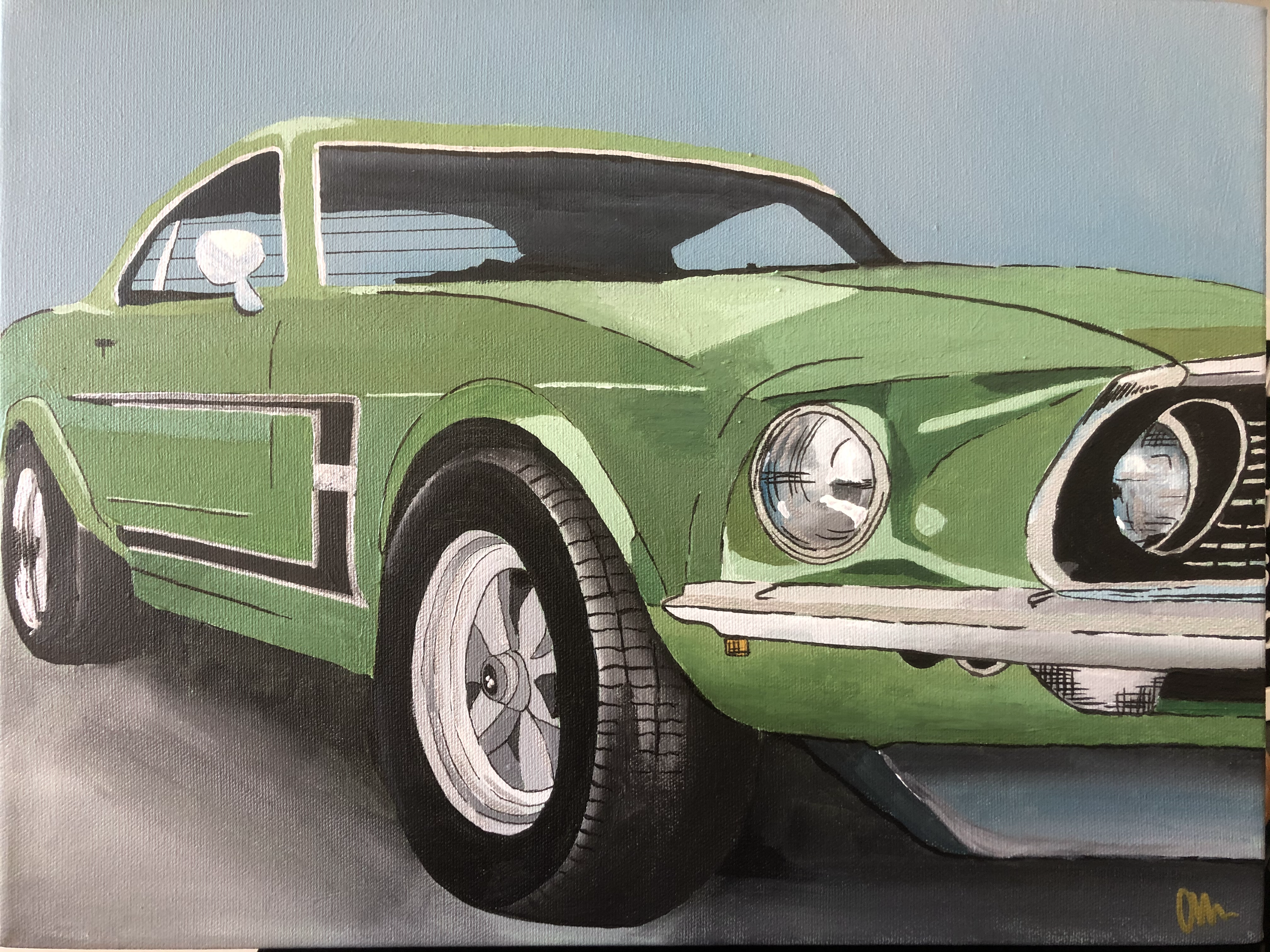 Green Mustang Painting