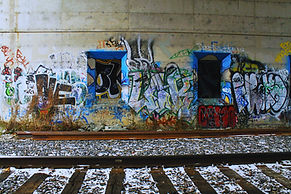 a grafiti wall next to train tracks taken in Sherbrooke, Quebec
