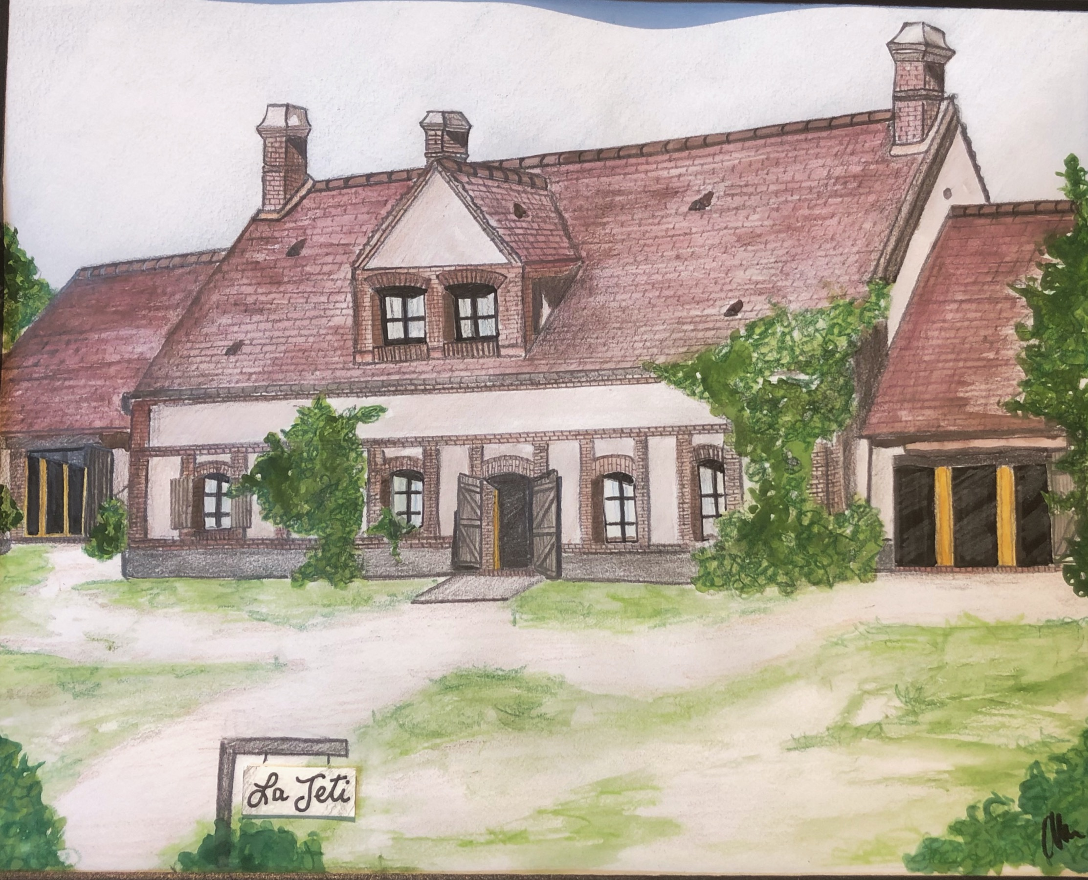 water colour house painting with trees