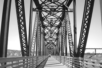 New Brunswick walking bridge photo black and white