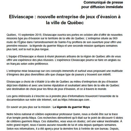 Une nouvelle compagnie d'évasion ouvre à Québec et c'est en octobre que ça se passe!!!