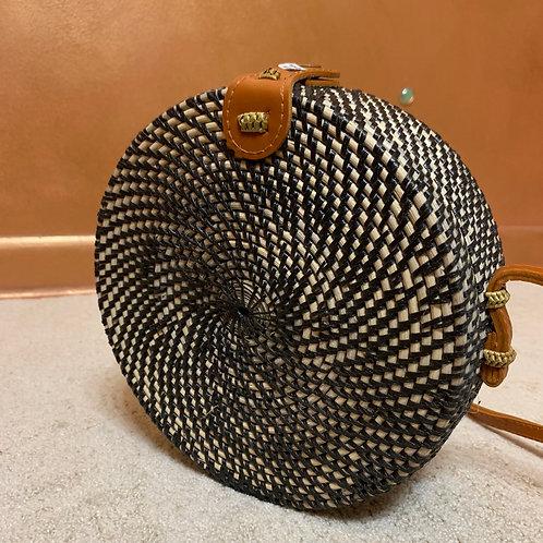 Black Rattan Straw Shoulder Bags for Women - Handmade Bali Boh