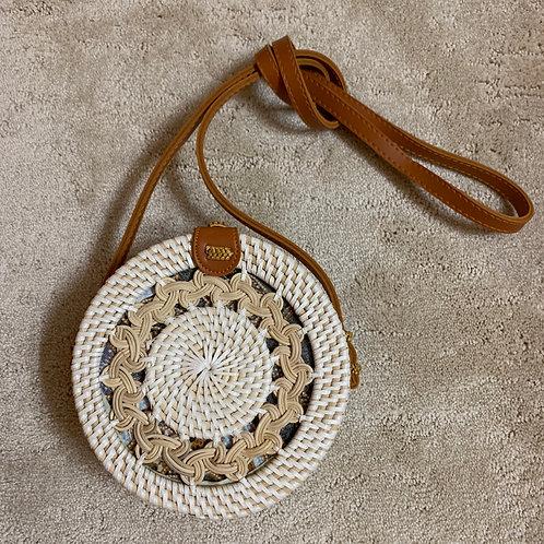 White & Tan Rattan Straw Shoulder Bags for Women - Handmade Bali Boho Purse