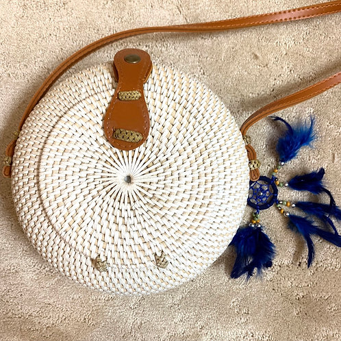 White Round Rattan Straw Shoulder Bags for Women - Handmade Bali