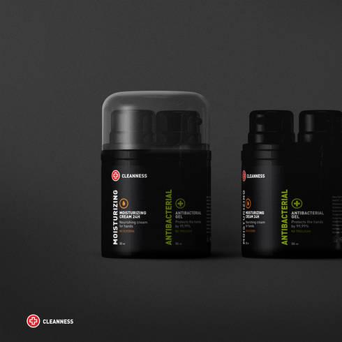 Брендинг серии упаковок косметики CLEANNESS