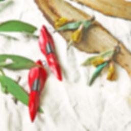 eucalyptus flower sturt desert pea handmade kangaroo leather earrings