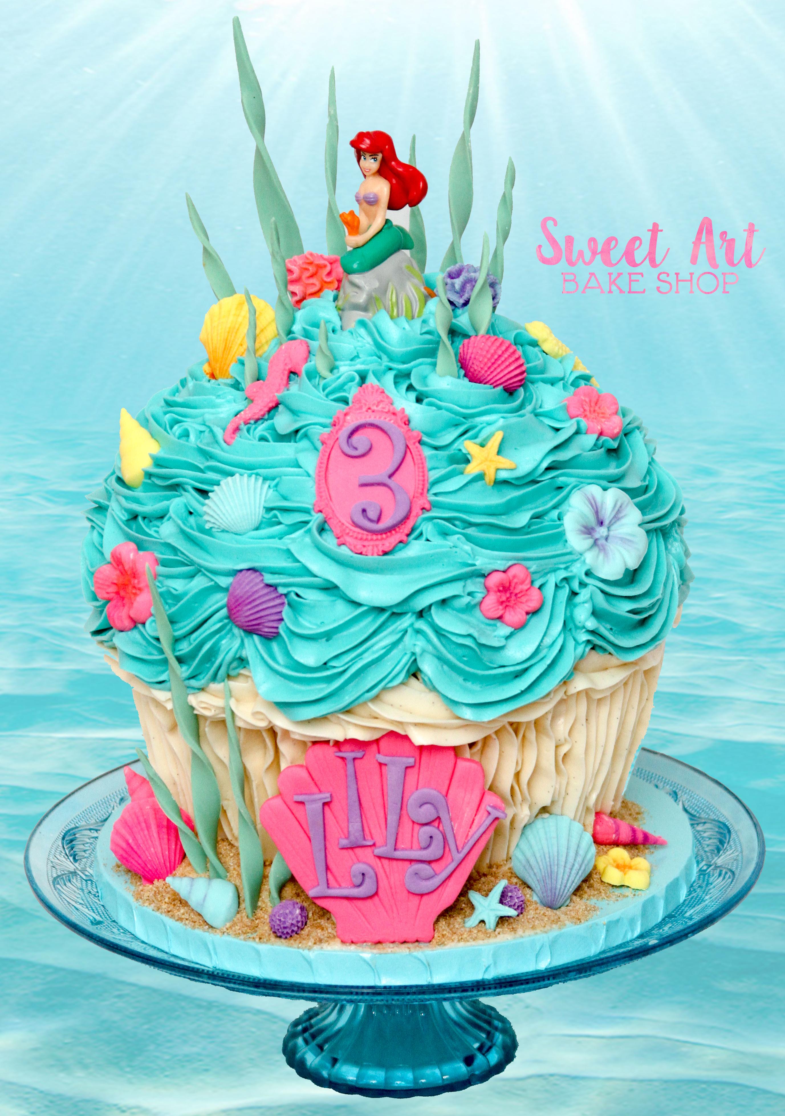 Little Mermaid Giant Cupcake