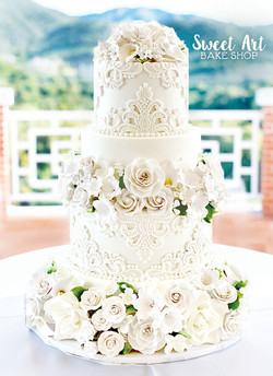 Lace Sugar Flower Wedding Cake