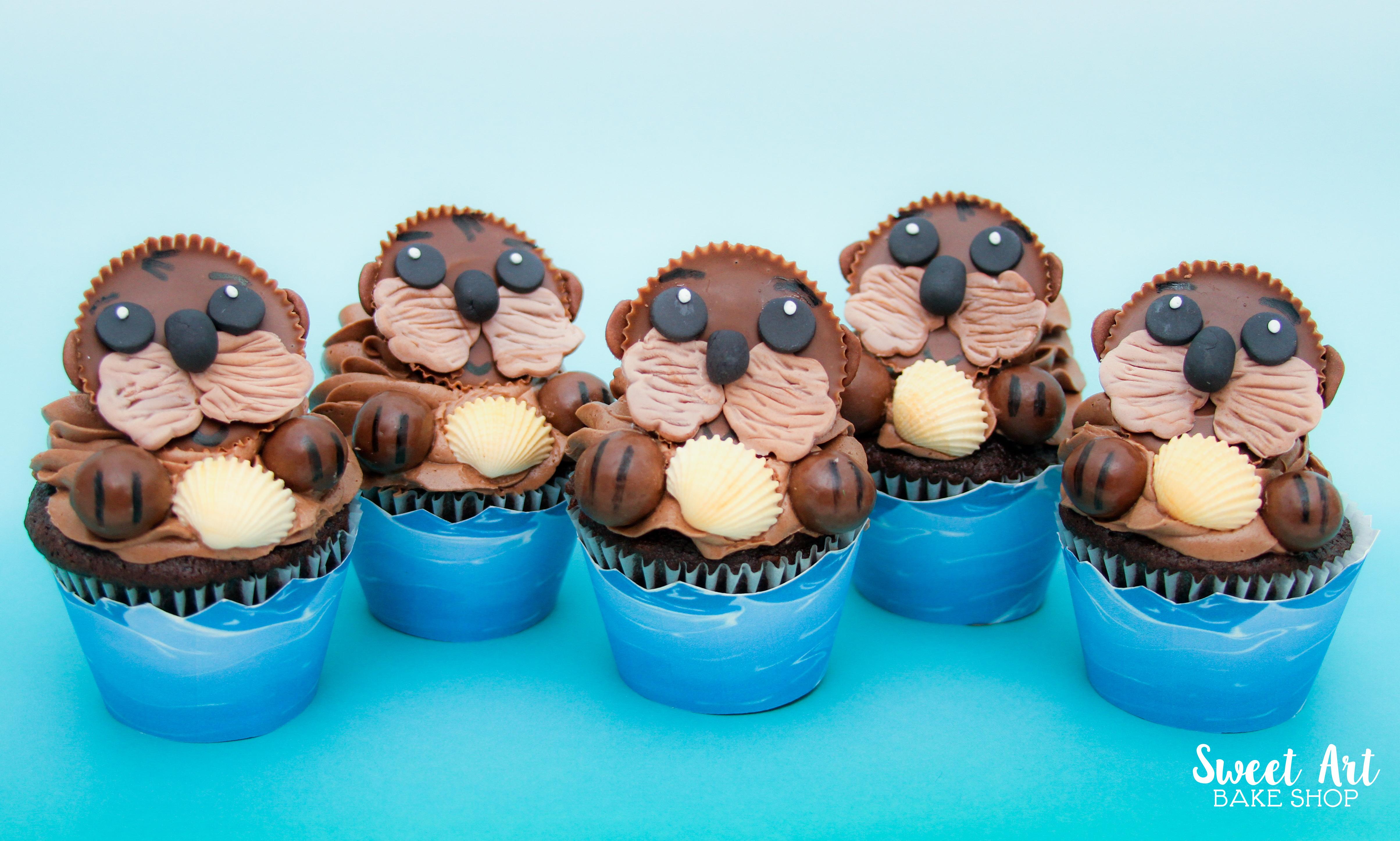 Sea Otter Cupcakes