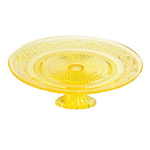 "10"" Yummy Yellow Glass Cake Stand"