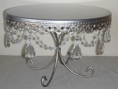 """13"""" Silver Hanging Crystal Cake Stand"""