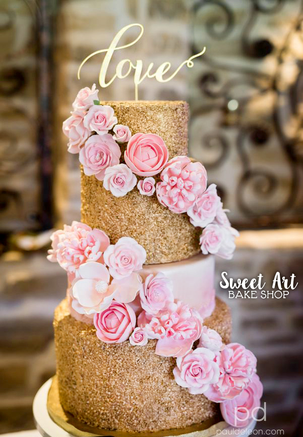 Blush Pink and Gold Sequin Cake