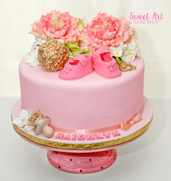 Pink & Gold Baby Shower Cake