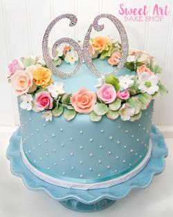 Springtime 60th Birthday Cake