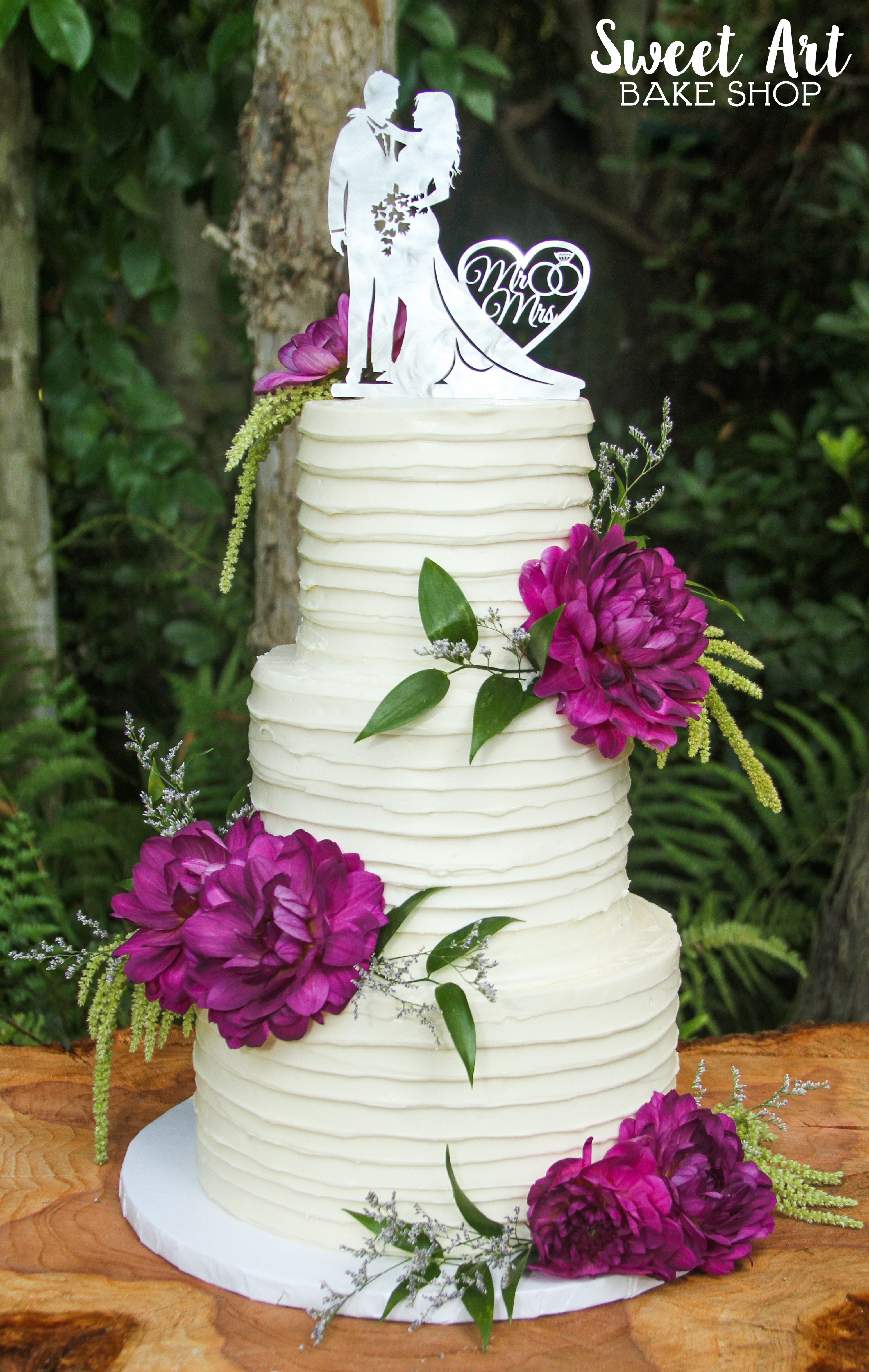 Buttercream with Purple Flowers