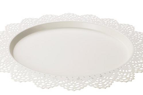 "15"" White Lace Platter"