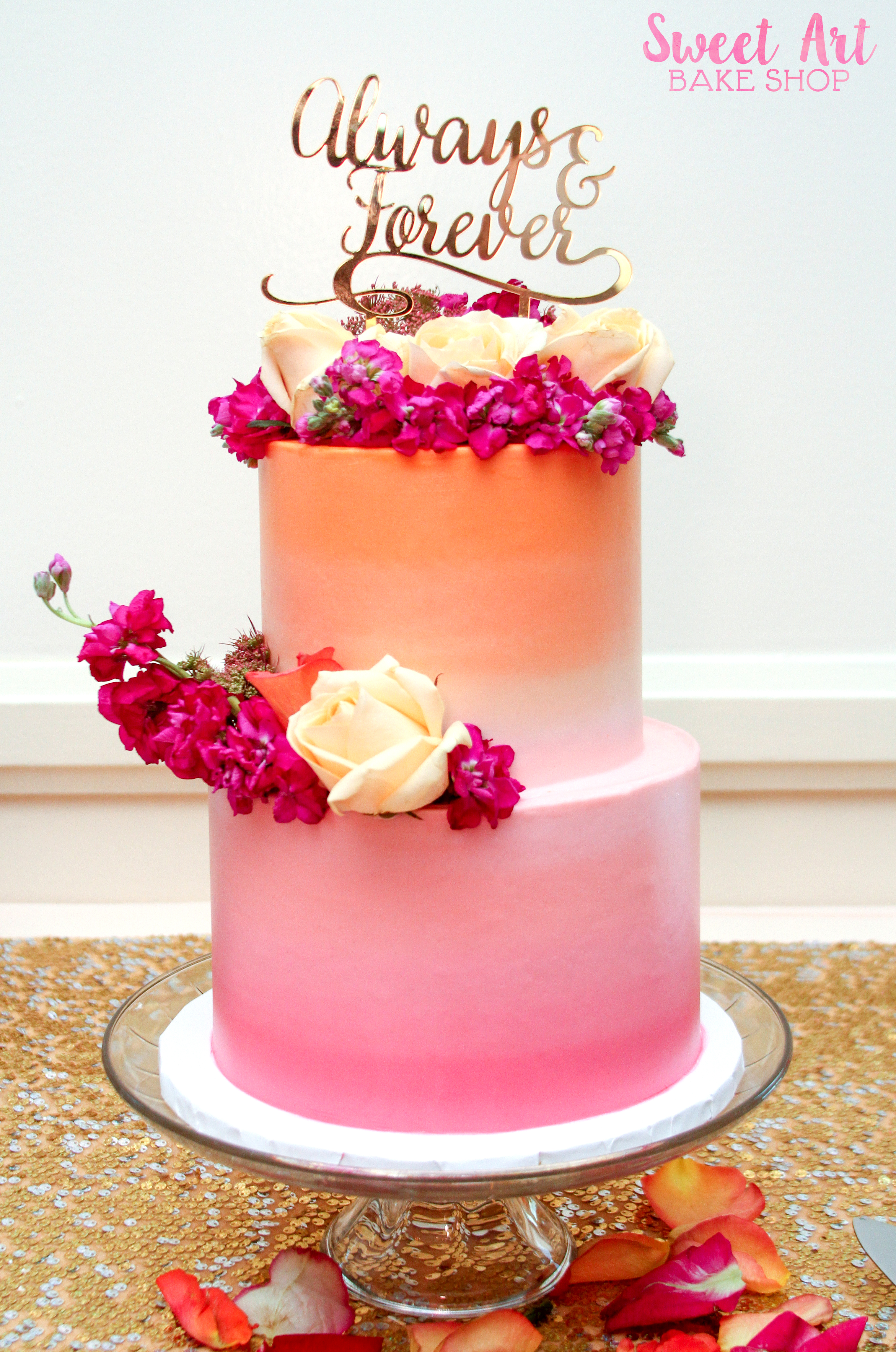 Pink Orange Ombre Wedding Cake