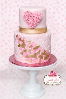 Pink & Gold Heart Cake Cake