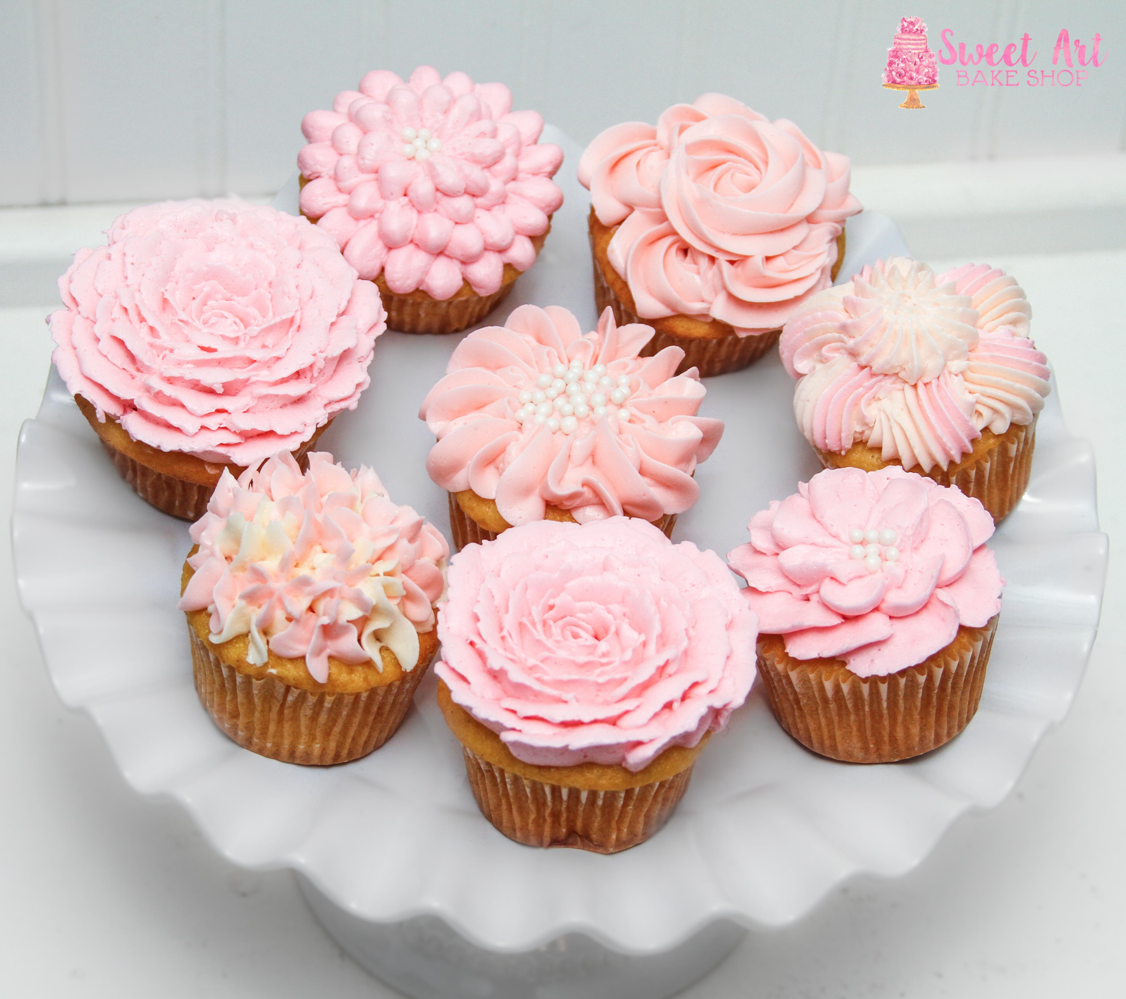 Blush Pink Flower Cupcakes