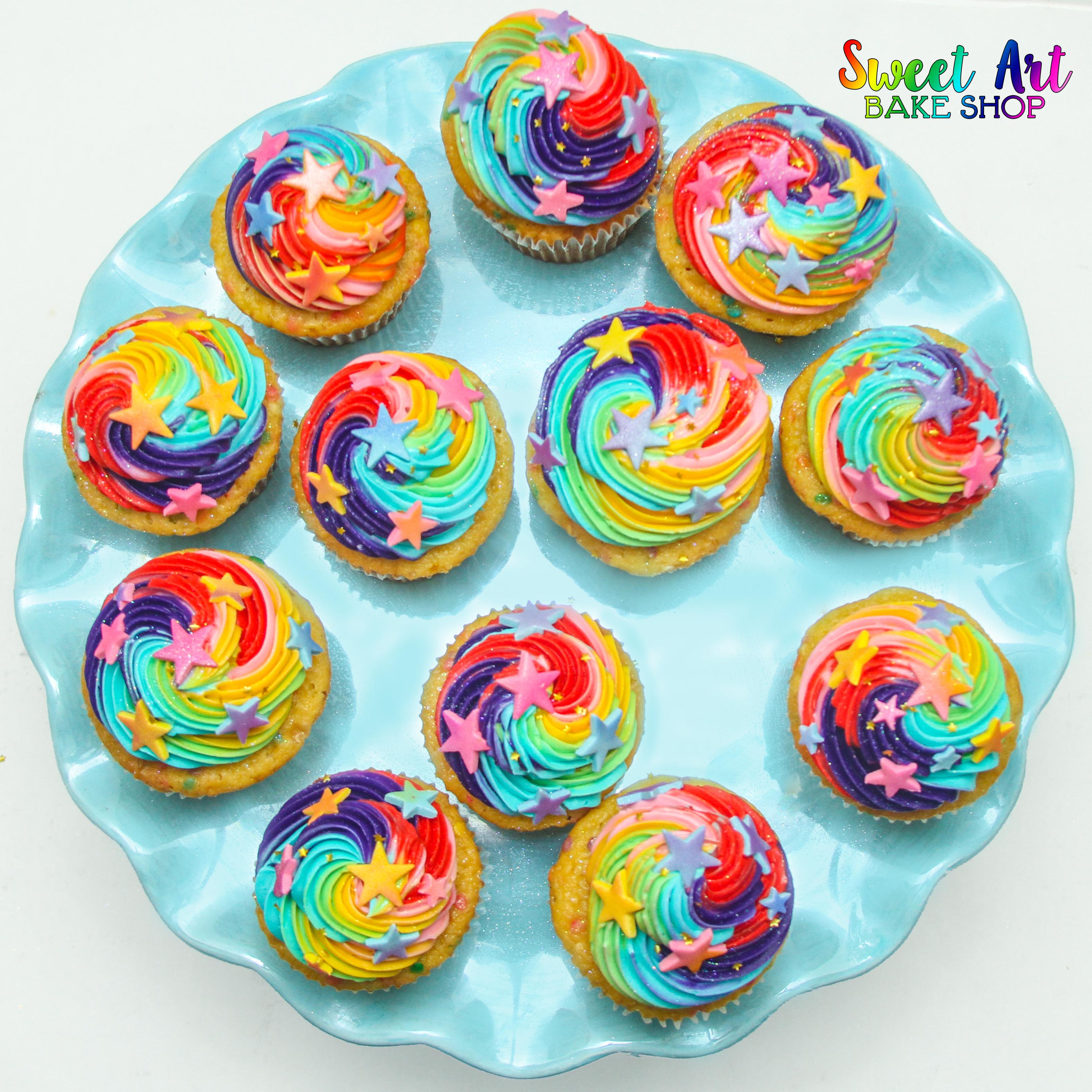 Rainbow Sparkly Star Cupcakes
