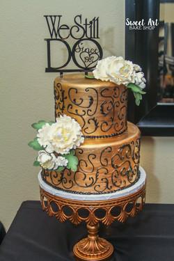 Gold & Black Swirl Anniversary Cake