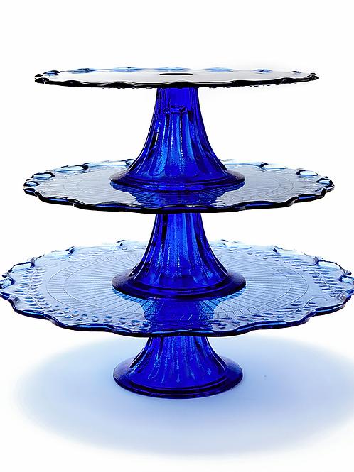 """9.5"""" Cobalt Blue Cake Stand"""