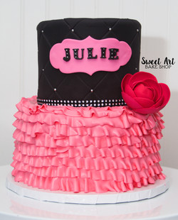 Black & Pink Ruffle Cake