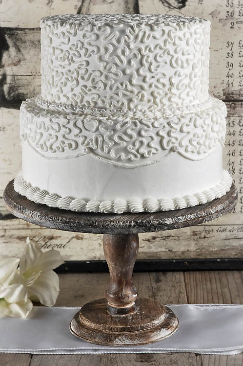 """12"""" Rustic Wood Cake Stand"""