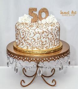 Gold Swirl 50th Anniversary Cake