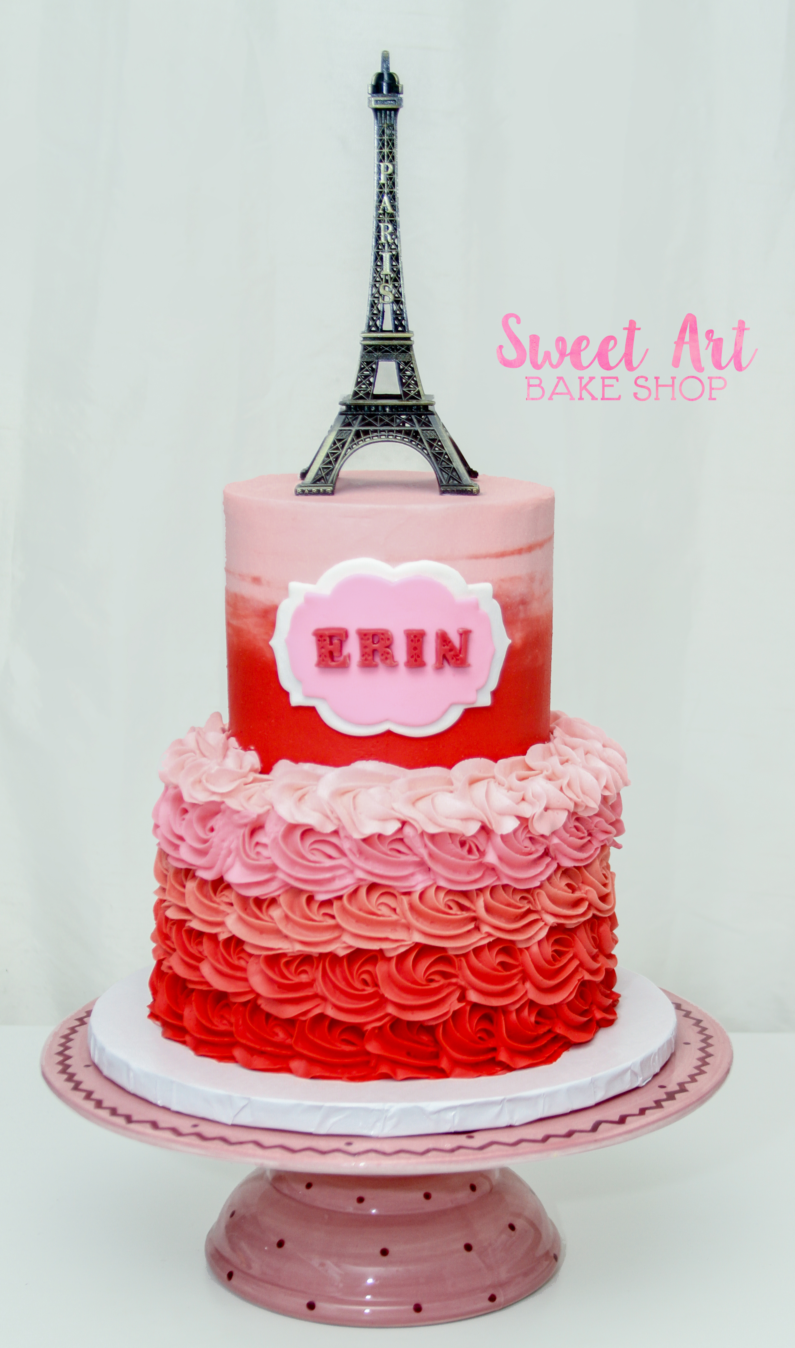 Paris Red Pink Ombre Cake