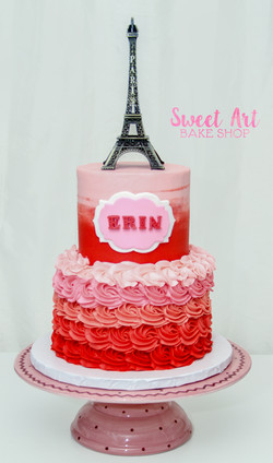 Paris Red & Pink Ombre Cake