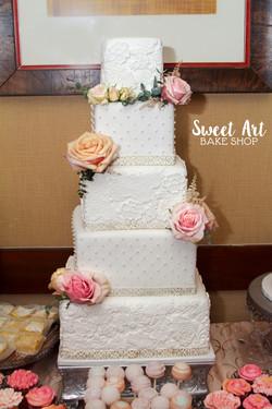 Lace Square Wedding cake