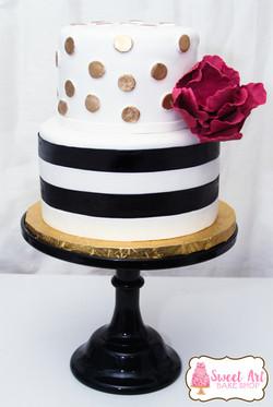 Stripe & polka dot cake Sugar Flower