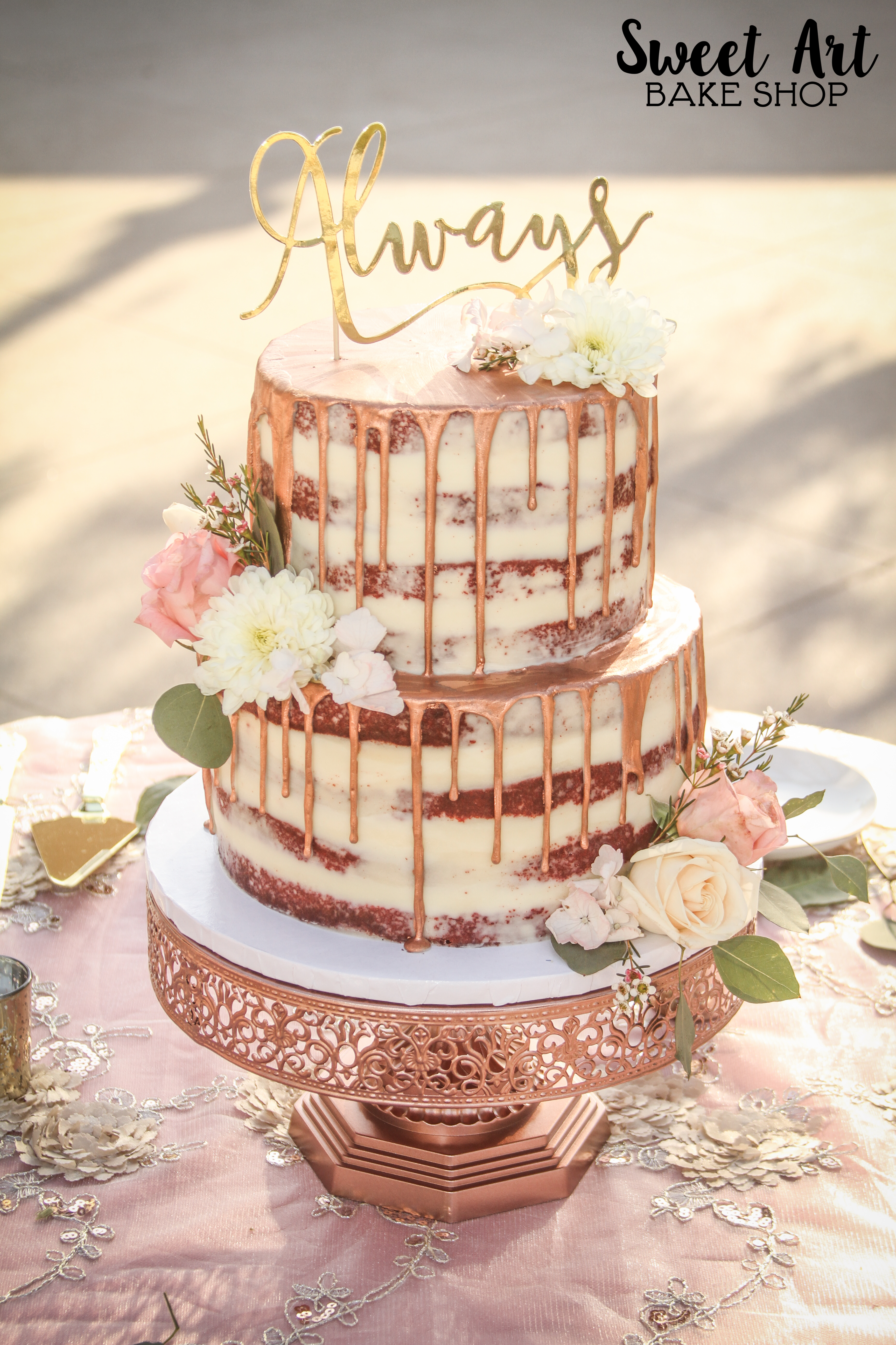 Rose Gold Drip Naked Cake