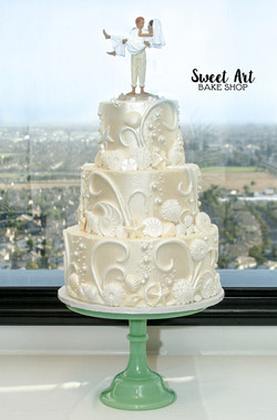 Beach Seashell Wedding Cake
