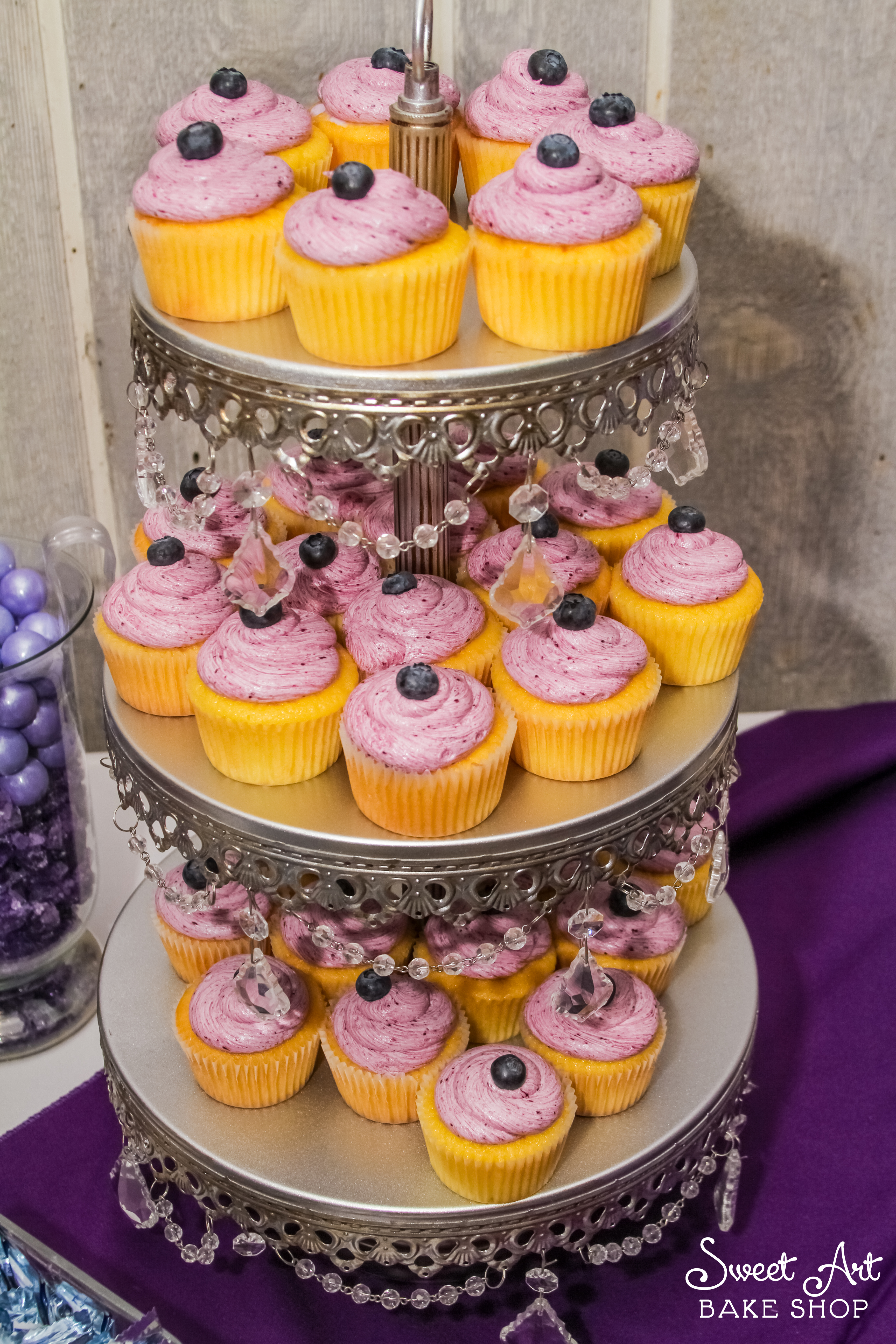 Lemon Cupcakes, Blueberry Frosting