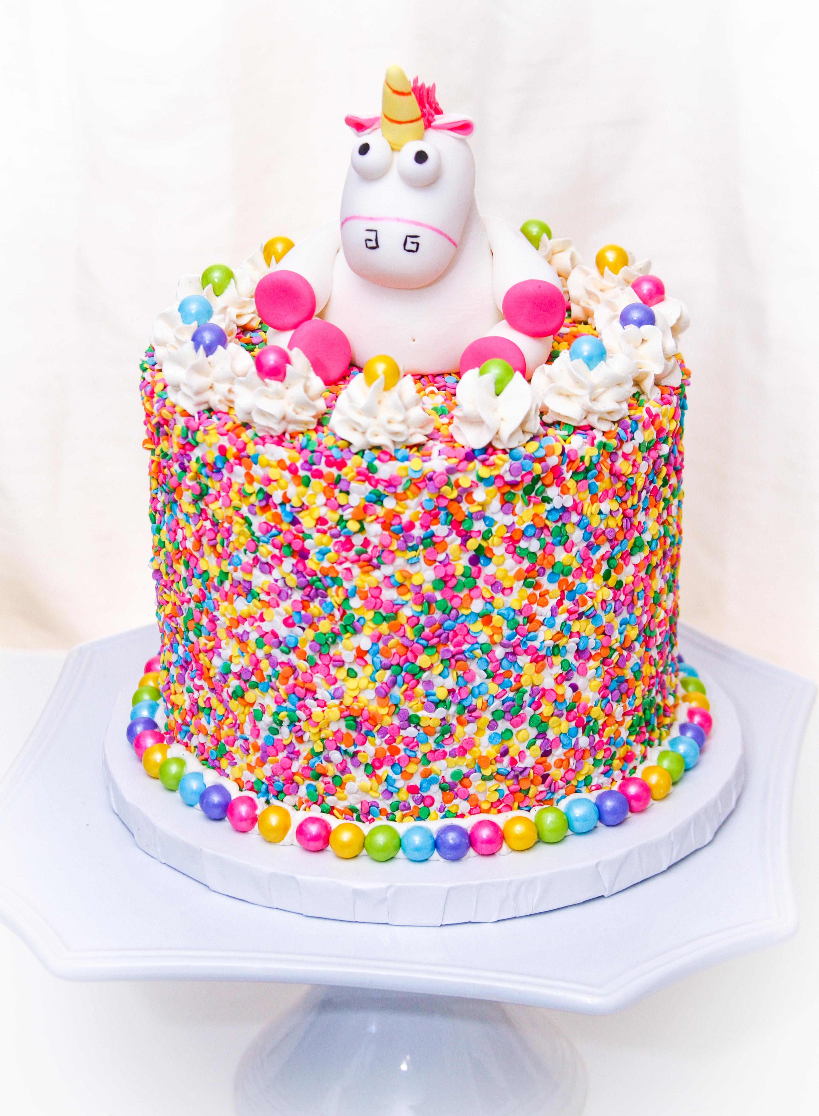 Fluffy Unicorn Sprinkle Cake