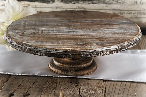 """12"""" Rustic Wood Cake Stand - Short"""