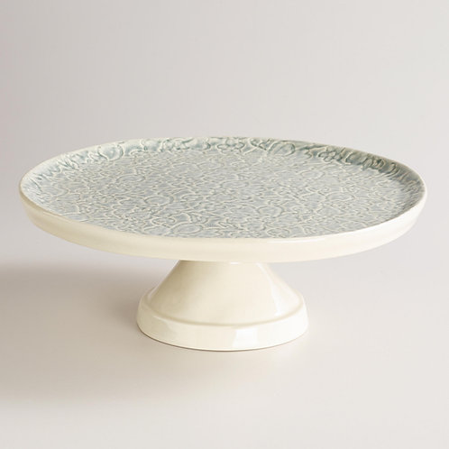 """11.25"""" Ivory Cake Stand with Gray Lace"""