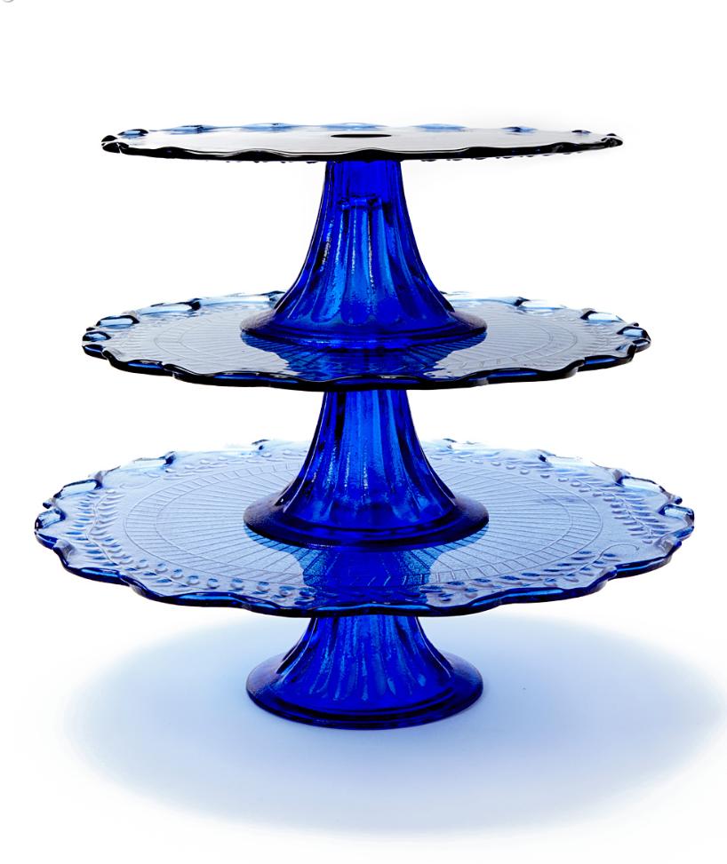 Maison Glass Cobalt Blue Cake Stands