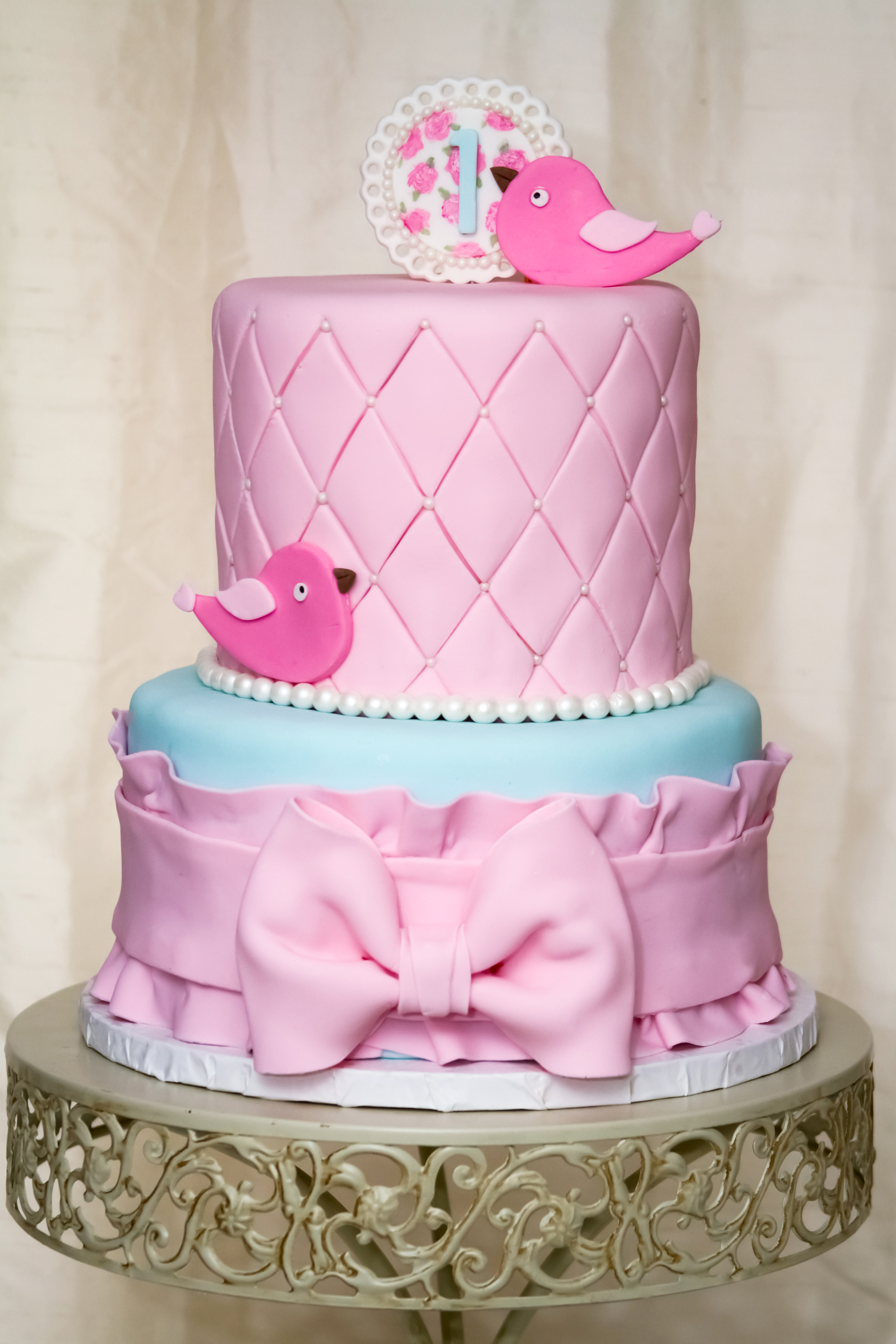 Vintage Bird First Birthday Cake