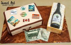Suitcase & Wine Bottle Cake