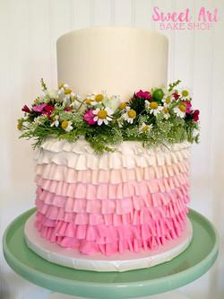Wildflower Ruffle Baby Shower Cake