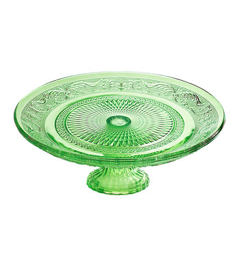 Gorgeous Green Glass Cake Stand