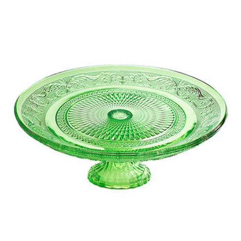 "10"" Gorgeous Green Glass Cake Stand"
