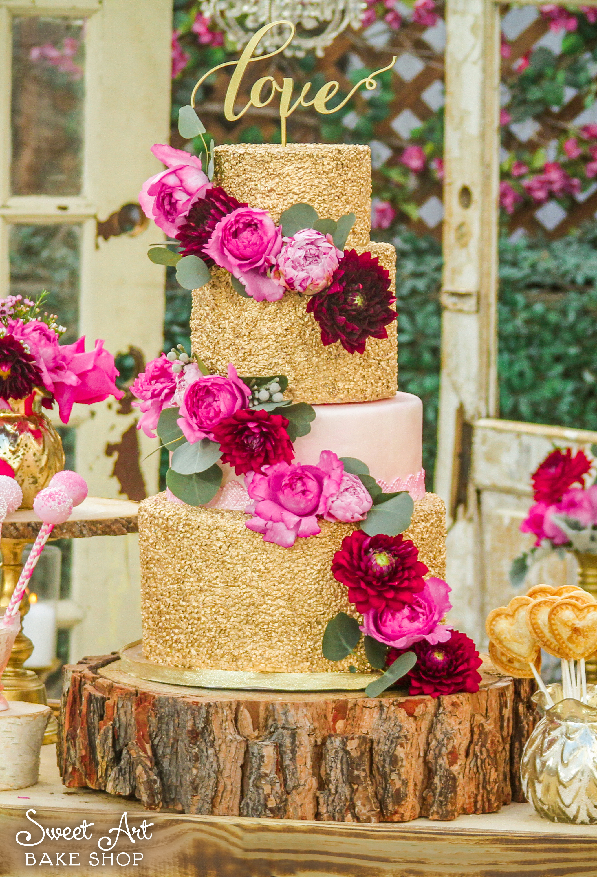 Gold Sequin Cake with Fresh Flowers