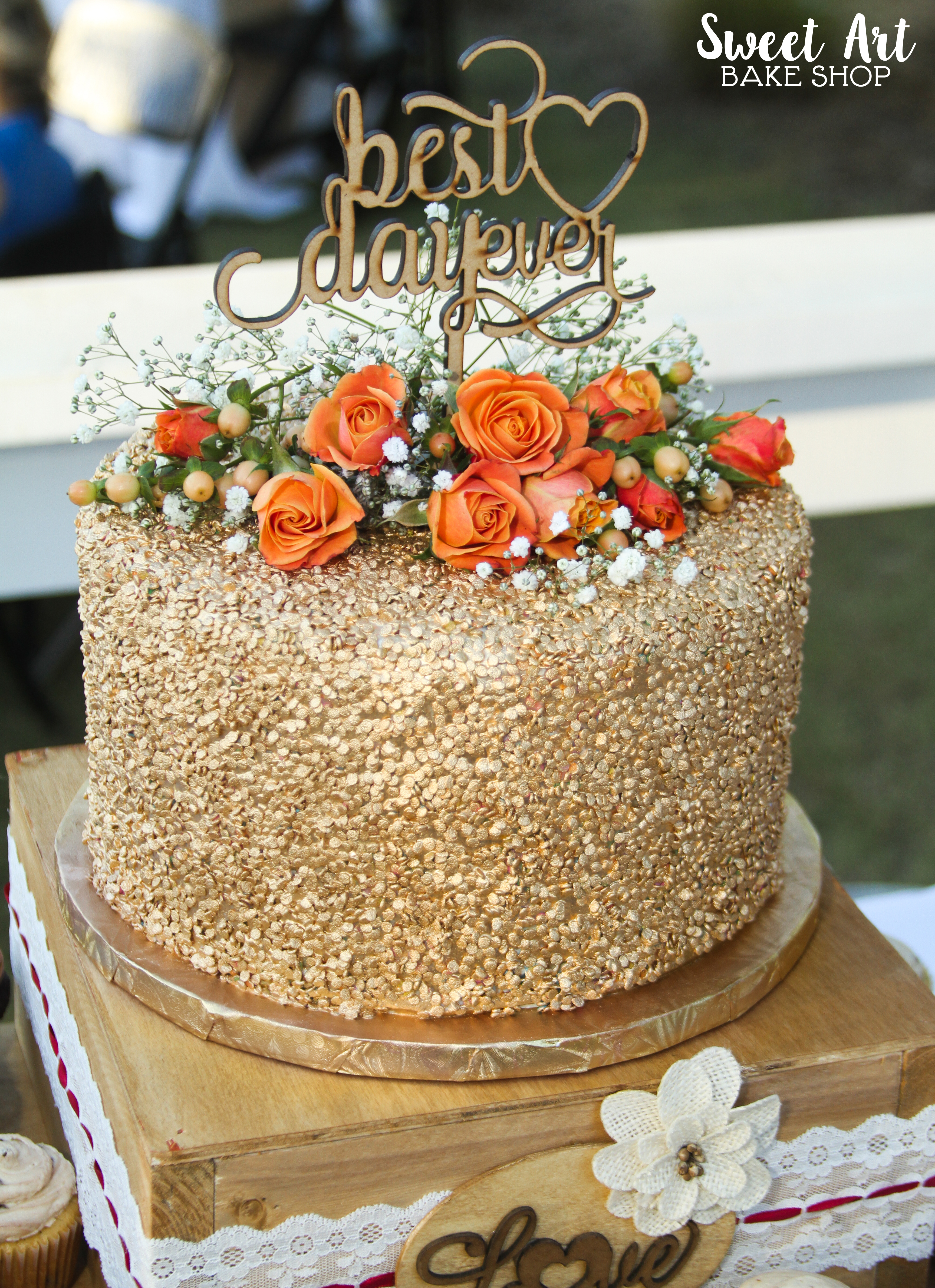 Best Day Ever Gold Sequin Cake