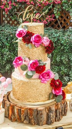 Pink & Gold Wedding Cake