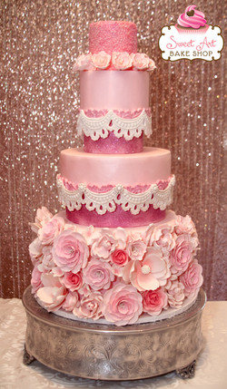 Pretty Pink Princess Wedding Cake